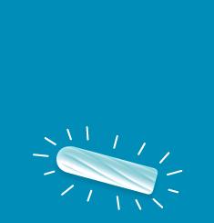bilde av en hvit tampong på en blå bakgrunn, tampongen har striper rundt dem.