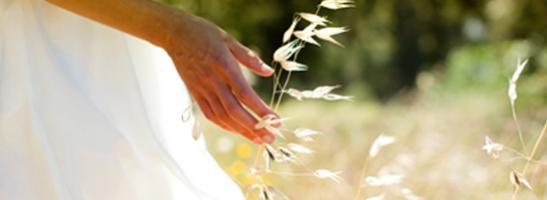 Bilde av en kvinne som står i et felt. Bildet illustrerer hvordan vi jobber for en bærekraftig utvikling og beskytte miljøet.