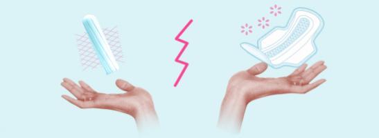bilde av to hender, med en tampong til venstre og en serviett til høyre. Bildet viser de forskjellige fordelene ved hver beskyttelses ha.