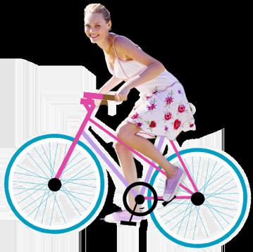 Bilde av en ung kvinne som sykler