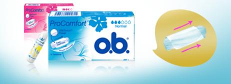 Bilde av to stk av o.b. ProComfort Normal og Super. Produktet har 3 eller 4 dråper blod, noe som indikerer at de er egnet for normal og høy menstruasjonsblødning.
