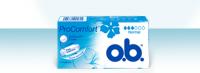 Bilde av en pakke av o.b. ProComfort Normal. Produktet har tre bloddråper, noe som indikerer at det er egnet for normal menstruasjon.