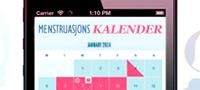 Bilde av en mobiltelefon som har en menstruasjons kalender åpen. Bildet viser hvordan det kan se ut hvis du bruker den mobile applikasjonen o.b. Mens Kalender